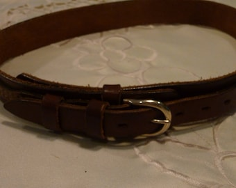 """Vintage Leather Belt - Brown Leather Belt ~  Perfect Gift for Anyone -  Made in Canada  ~ Size 26"""" ~ Western Belt with Antique Brass Tone"""