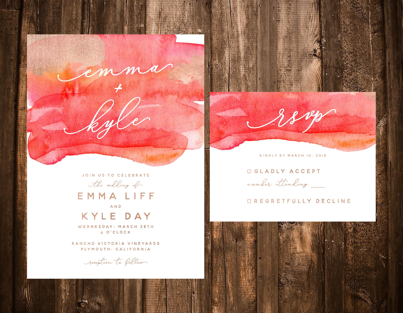 Watercolor Wedding Invitations Simple Watercolor Wedding