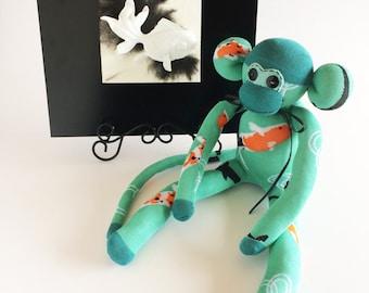 Koi Sock Monkey - Koi Pond - Sock Monkey - Japanese Decor - Seafoam Sock Monkey - Green Sock Monkey - Fish Sock Monkey - Gold Fish - Koi