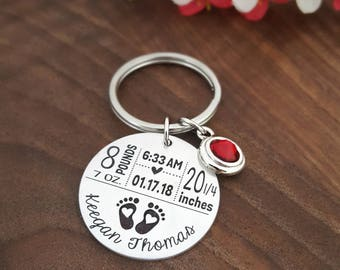 New Mom Keychain | New Mom Gift | Baby Arrival Keychain | New Baby Keychain | Baby Stats Gifts | New Mom Gift | First Time Mom Gift | Baby