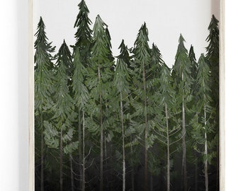 Into The Woods - Treeline - Beautifully textured cotton canvas art print. Order as a 5x7 8x10 11x14 or 16x20 size.