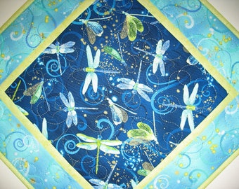 Dragonfly Table Topper or Wall Hanging, quilted, handmade, fabric from Kanvas by Benartex