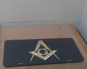 Masonic -  Black & Gold Mirror  License Plate