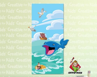 Jonah & The Whale Wall Decal, Bible Story Wall Decal, Kids Wall Decal, Christian Wall Decal, Religious Wall Decal, Sunday School Decal 9195