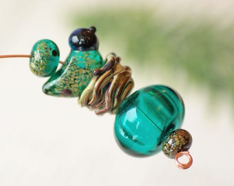 Handmade lampwork beads for necklace pendant bird focal beads nest woodland lampwork raku lampwork beads sra bird jewelry animal lampwork