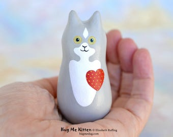 Handmade Kitty Cat Figurine, Gray and White, Red, Miniature Sculpture, Hug Me Kitten, Animal Totem Charm Figure, Personalized Tag