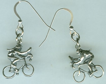 Sterling Silver GIRL RIDING BICYCLE Earrings - French Earwires
