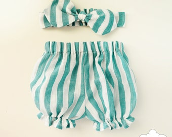 Baby Bloomers & Headband Set~ Blue White Bloomers~ Stripes Bloomers~ Baby Girl Outfit~ Baby girl headband~ Baby girl bloomers~ Bloomers set