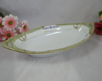 1900s Antique Vintage Hand Painted Nippon Beaded Moriage Ship Nautical Oval Serving Dish or Bowl