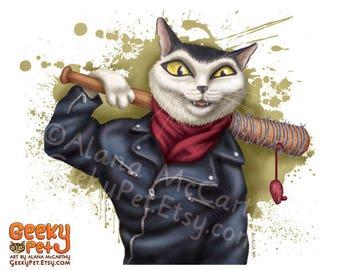 The Walking Dead: Negan Cat - 8x10 art print - Negan as a cat holding Lucille the baseball bat
