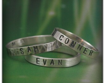 Custom Stamped Name Rings in Solid Sterling Silver~Gift for Mom or Dad~Hand Stamped Stack Ring~Personalized Mens~Personalized Mothers Band