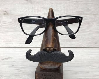 Personalised Father's Day wooden glasses stand with moustache engraved - gift for him - Grandad gift - Dad gift - Grandpa