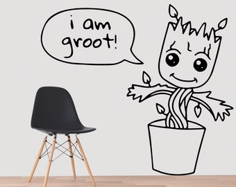 Groot, Wall Decal, Groot Pot, Groot Planter, Baby Groot Planter, Guardians of the Galaxy, Superhero, Avengers, Marvel, I Am Groot, Gift