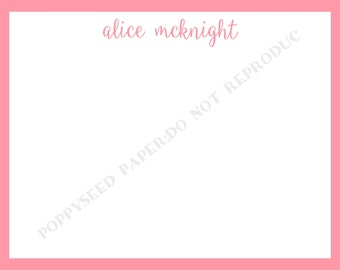 Monogram or Name note card, personalized flat note cards, stationery, monogram or name