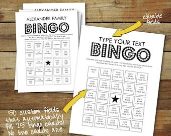 Bingo Cards - Custom Bingo Cards - type your own text - cards fill automatically - 25 unique bingo cards - instant download pdf - bingo game