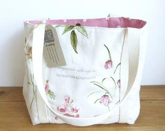Tote Bag Floral, Knitting Tote Bag,  Floral Handbag, Floral Tote Bag, Mothers Day Gift Idea, Canvas Tote Bag, Canvas Handbag, Cloth Handbag