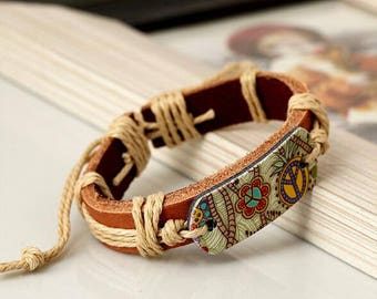 Bohemia Unisex Handmade Leather Charm Bangle / Bracelet with Rope Chain Style