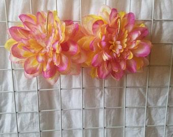 Pink and Yellow Flower Petal Earrings on gold hoop.
