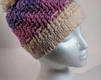 Tri-color Pastel Step-Pattern Adult Crochet Winter Hat