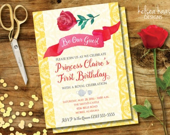 Be Our Guest Printable Invitation, Beauty and the Beast, Belle Inspired, 5x7 Birthday Invitation, DIY, Baby Shower