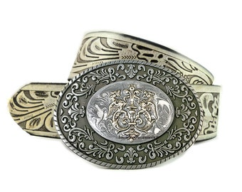 Medieval Dragons Crest Inlaid in Hand Painted Metllic Silver Enamel Belt Buckle Medieval Coat of Arms Oval Metal Buckle with Color Options