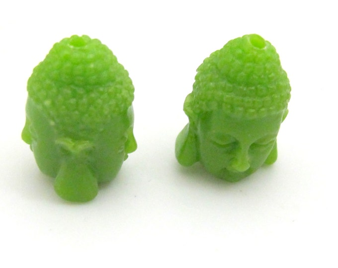 2 BEADS - Green resin Dual sided Buddha face pendant bead 15 mm x 11 mm - BD749