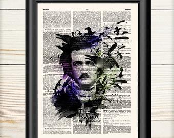 Edgar Allan Poe, The Raven, Poe Portrait, Poe Print, Dictionary Print, Book Print, 037