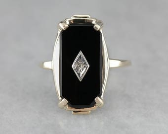 pin ring black yellow onix rosy genine vintage diamond onyx rings gold