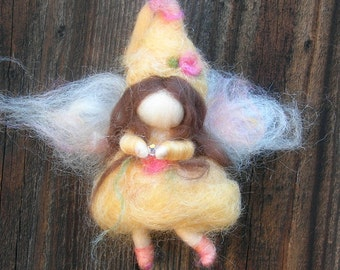 Ornament - Yellow Crystal Needle Felted Fairy- Waldorf Inspired Needle Felted Soft Sculpture -