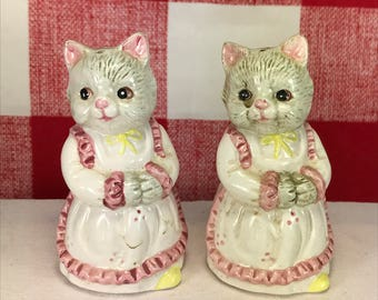 Vintage Cats Wearing Dresses Salt and Pepper Shakers