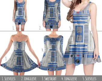 Little Blue Droid R2D2 Star Wars Inspired - Dress in XS-3XL - Flared, Bodycon, or Skater Style 000855