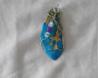 wirewrap natural stone pendant necklace
