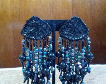 Vintage Sparkly black dangle earrings set with shiny black beads and clasp backs