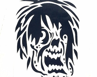 DIY Zombie Face Vinyl Decal, The Walking Dead Zombie, Car Window Decal, Laptop Decal, Cell Phone Decal, Drinkware Decal