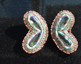 Beaded Earrings Native American pink white and teal
