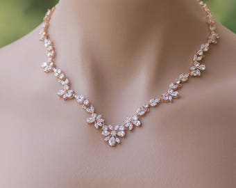 Rose Gold Crystal Necklace, Crystal Bridal Necklace, Rose Gold Bridal Jewelry, Collier de Cristal ASHLEY RG