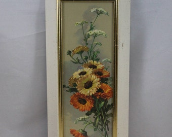 """Vintage Turner Wall Accessory, 7 1/2""""x 16 1/2"""", Flowers w/ Flecked White Frame"""