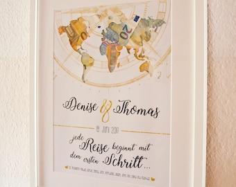 "Money gift ""world map"""