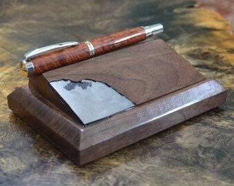 Walnut Wood Pen Stand with Meteorite Inlay