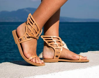 Sandals, Hermes Winged Sandals, Natural Leather sandals, summer flat sandals, Greek sandals, Women sandals, ankle strap sandals