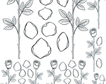 Rose Outlines - Ceramic Decals- Enamel Decal - Fusible Decal - Glass Fusing Decal ~ Waterslide Decal - 34307963