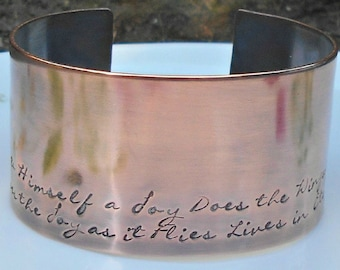 Stamped Copper Cuff, William Blake Quote,  Hand Stamped Quote Cuff, Book Lover, English Teacher Gift, Literary Gift, 7th Wedding Anniversary