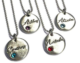 Personalized Birthstone necklace Silver initial jewelry pewter jewelry Mothers necklace
