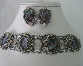 Deco Style Ornate Camphor Bracelet & Earring Demi Parure