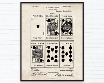 Poker Playing Cards Patent Drawings-December Birthday Gift Ideas - Printable Posters of 4 Styles, INSTANT DOWNLOAD - 12/05/1893