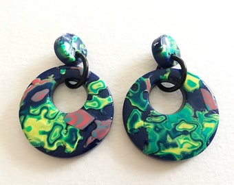 Dangle Earrings - Large round polymer clay dangle earrings on posts