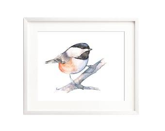 Chickadee watercolor painting digital print, 4 sizes, Chickadee digital print, chickadee downloadable, chickadee printable art