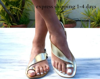 ARTEMIS 3 sandals/ ancient Greek leather sandals/  classic leather sandals/ handmade sandals/ slingback sandals/ gold leather sandals