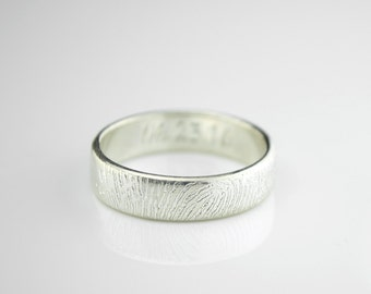 Fathers day gift, Wide Fingerprint ring, Handwriting Ring, Men's Ring, Wedding Ring, Sterling Silver Ring, Custom Engraved Fingerprint Band