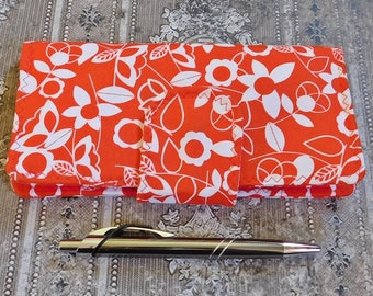 Red and White Floral Checkbook Wallet - Checkbook Cover - Coupon Case - Cash Wallet - Fabric Wallet